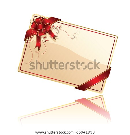 Gift card with red ribbon and bow, illustration - stock photo