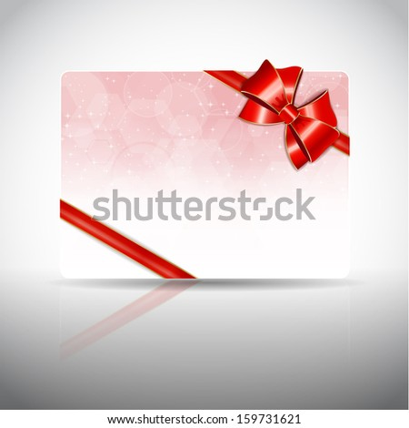 Gift card with ribbons and bow, raster copy - stock photo