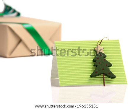 Gift , card with tree - stock photo