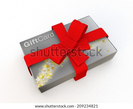 gift cards as a present idea isolated on a white background, silver and gold star design - stock photo