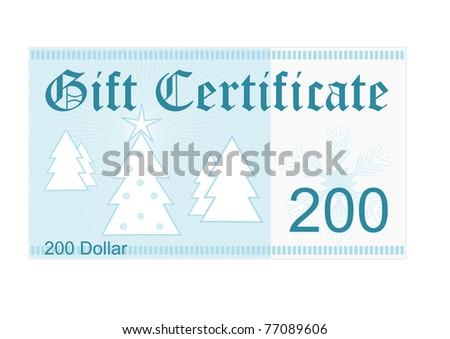 gift certificate 200 dollar christmas gift stock illustration