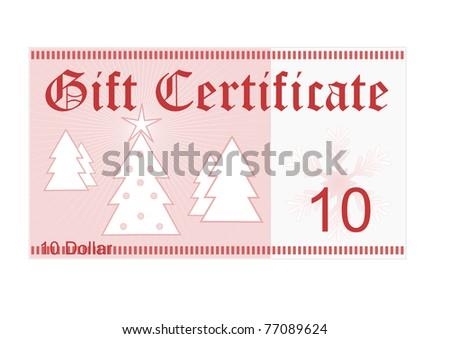 Gift Certificate 10 Dollar Christmas Gift Stock Illustration ...