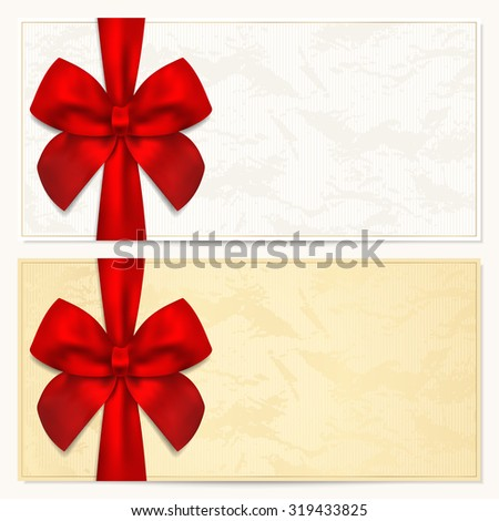 Gift certificate, Voucher, Coupon, Invitation or Gift card template with red bow (ribbon). Background design for banknote, check (cheque). Red (maroon) and gold colors - stock photo