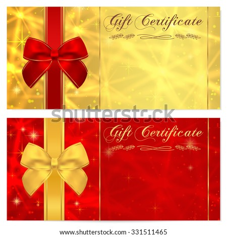 Gift certificate, Voucher, Coupon, Invitation or Gift card template with sparkling, twinkling stars (texture) and bow (ribbon). Red, gold background design money bonus, banner, ticket - stock photo