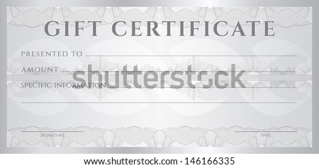 Gift certificate, Voucher, Coupon template (layout). Guilloche pattern (watermark), border. Background for banknote, money design, currency, cheque, note, check, ticket. Silver color. Vector available - stock photo