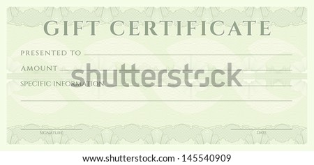 Gift certificate, Voucher, Coupon template (layout) with guilloche pattern (watermark), border. Background for banknote, money design, currency, note, check, ticket, cheque, reward. Blue color. Vector - stock photo