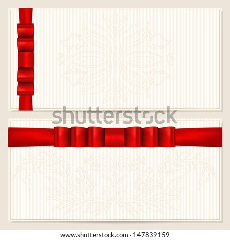 Gift certificate, Voucher, Coupon template with floral pattern, border and red bow (ribbons). Design usable for invitation, ticket. Corrugated background. Vector in Portfolio - stock photo