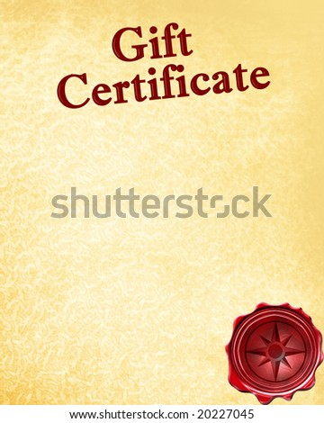 gift certificate with a wax seal on it