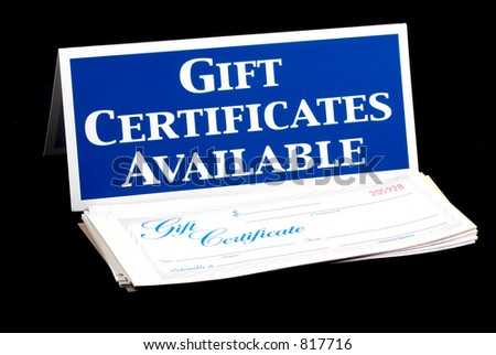 Gift Certificates Available Sign and Certificates