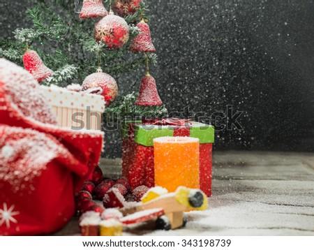 Gift christmas boxes under Christmas tree - stock photo