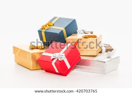 Gift color boxes isolated on white background.