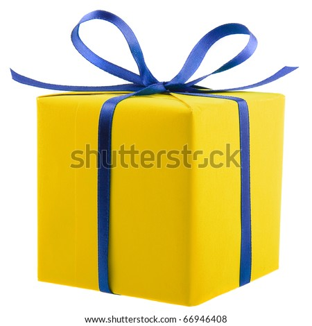gift colorful box with blue ribbon bow close up isolated on white background - stock photo