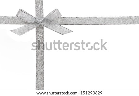 Gift concept - Silver bow and ribbon isolated on a white background - stock photo