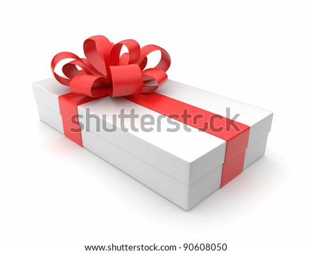 Gift 3D. White box, bow and ribbon. Isolated on white background