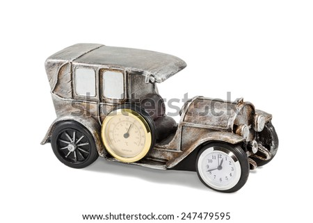 Gift decorative pattern retro car with the clock and thermometer isolated on white background - stock photo