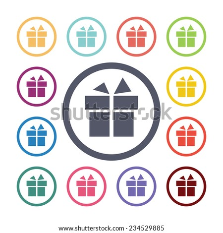 gift flat icons set. Open round colorful buttons  - stock photo