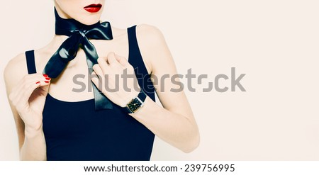 Gift for sensual Lady. Fashion accessories, Watches and black satin Bow. - stock photo