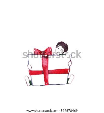 Gift for you - illustration. Watercolor card with boy and present. Cute boy with present on a white background. Happy birthday background illustration in vintage style. Mother's day greeting card. - stock photo