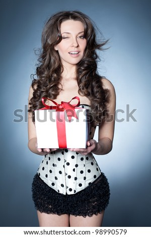 Gift from a curly vixen - stock photo