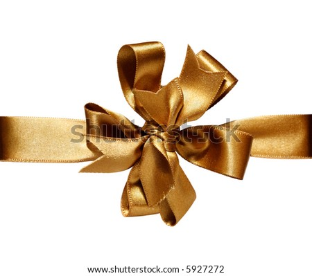 Gift golden ribbon and bow isolated on white. - stock photo