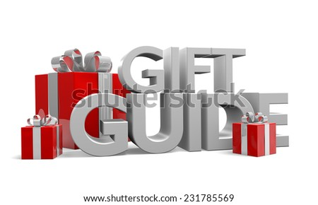 Gift guide text and three red Christmas gifts wrapped in silver ribbons - stock photo