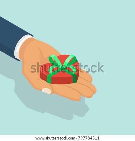 Gift heart on valentines day declaration stock vector 572400259 gift heart on valentines day isometric design holding heart in palm hand with ribbon and negle Gallery