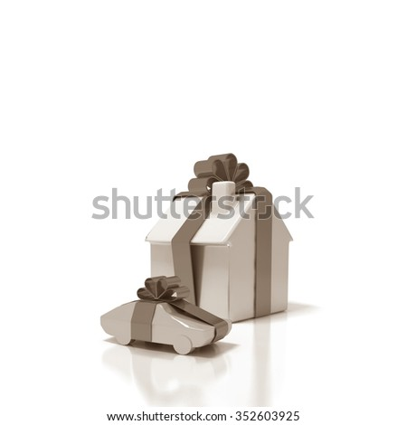 gift home and car - stock photo