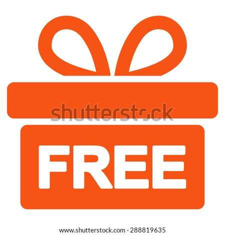 Gift icon from Business Bicolor Set. This flat raster symbol uses orange color, rounded angles, and isolated on a white background. - stock photo