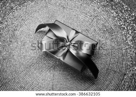 Gift in a beautiful box with a bow, candy - stock photo