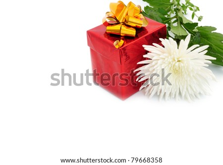 gift in box and white chrysanthemum
