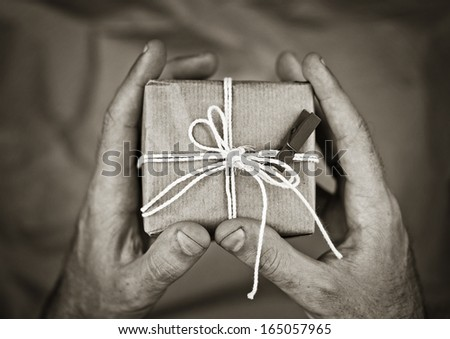gift in hands - stock photo