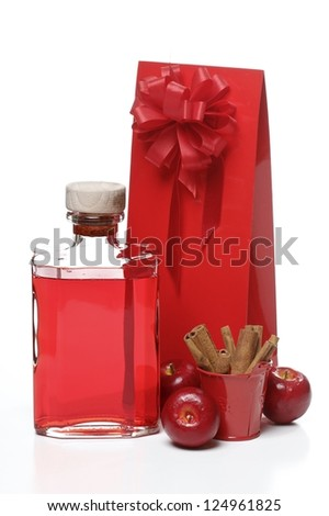 Gift in red wrapping isolated on white background - stock photo