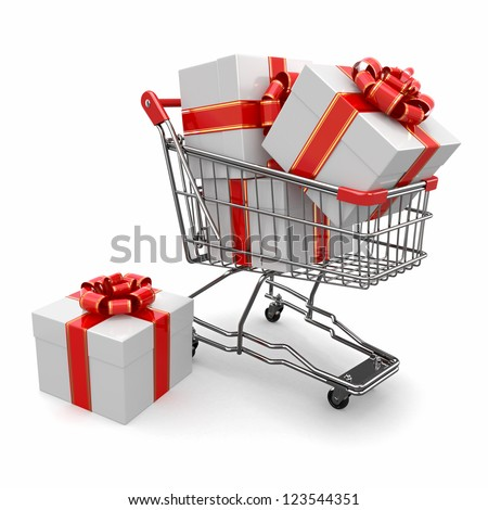 Gift in shopping cart on white background. 3d - stock photo