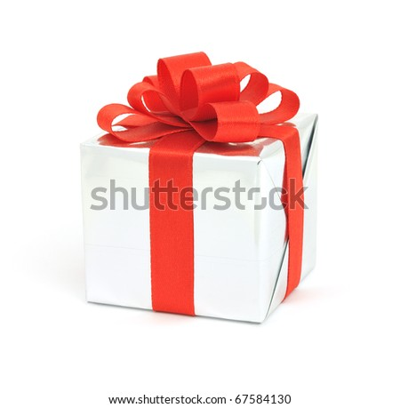 Gift in silver wrapping with red bow isolated on white background
