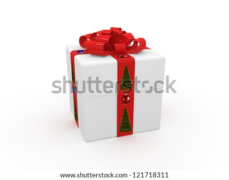 Gift in white packing with red tape