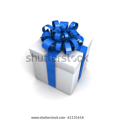 Gift isolated on whate. 3d illustration.