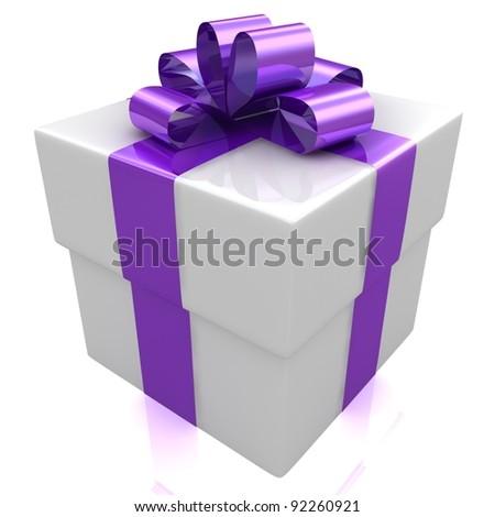 Gift isolated on white. - stock photo