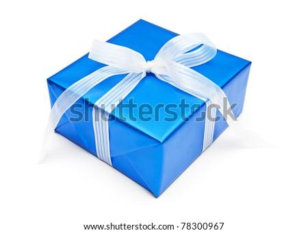 Gift, isolated on white dackground - stock photo