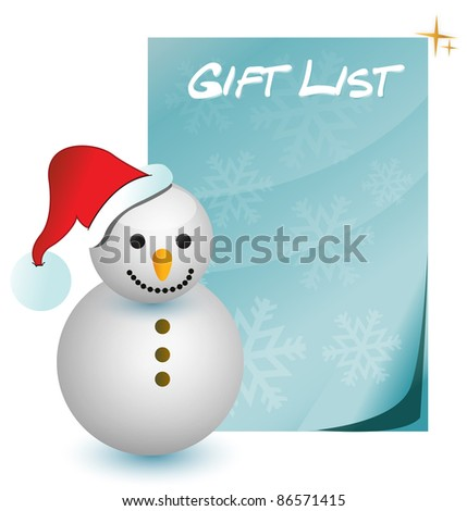 gift list with snowman illustration - stock photo