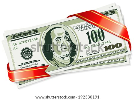 Gift of Dollar Bills with a Ribbon, illustration