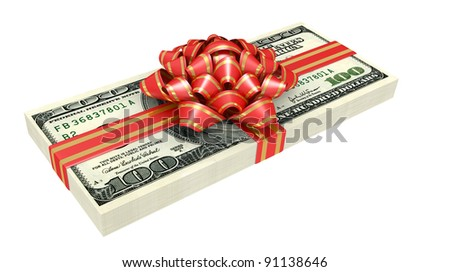 Gift of money, dollars bank notes, tied a red ribbon with a bow, the concept of success