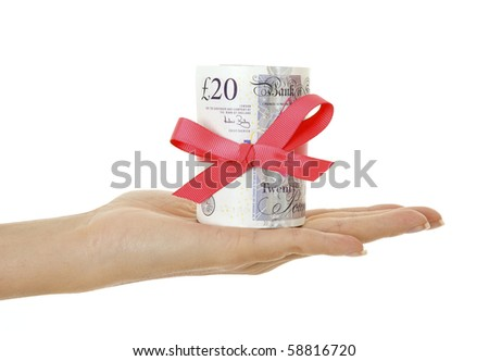 Gift of money isolated on white - stock photo