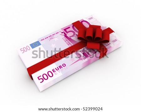 Gift of money. Stack of euro bills with red ribbon isolated on white background. High quality 3d render.