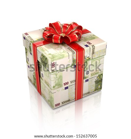 Gift of the euro. Isolated 3d render on a white background - stock photo