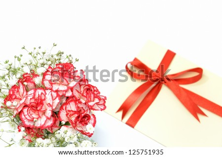 Gift of white and red carnations. isolated on white background.