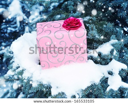 Gift on pine tree covered with snow