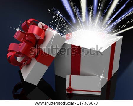 Gift  open white box, 3D images - stock photo