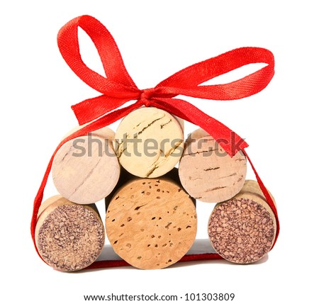 gift pack of wine corks isolated - stock photo