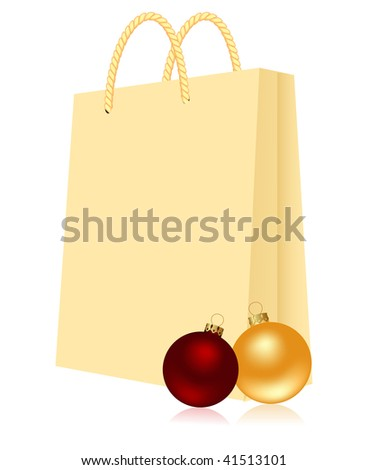 Gift package with christmas balls.