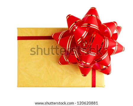 Gift package with red ribbon and bow